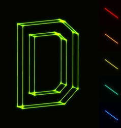 EPS10 glowing wireframe letter D - easy to change vector image