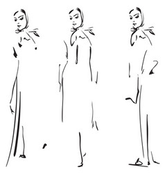 Fashion girls sketch vector