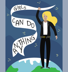 feminist girl power poster girls can do anything vector image