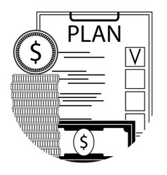 finance plan checklist line icon vector image