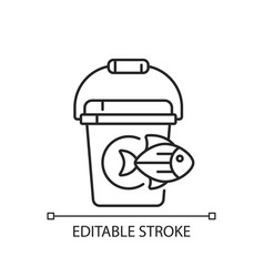 Fishing bucket linear icon vector