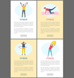 fitness workout people doing exercises web set vector image