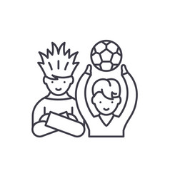 football fans line icon concept football fans vector image