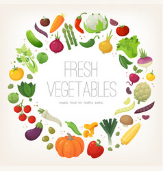 Fresh colorful vegetables arranged in circle vector