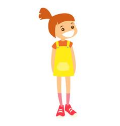 Full length little caucasian girl standing vector