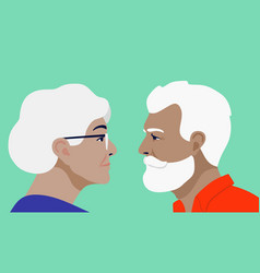 grandfather and grandmother face each other vector image