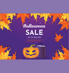 halloween sale with pumpkin and autumn leaves vector image
