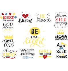 Hand lettering set with bible verse and christian vector
