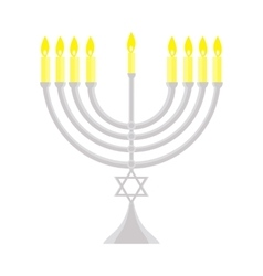 Happy Hanukkah Jewish holiday menorah vector