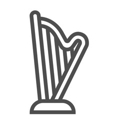 Harp line icon music and ancient instrument vector
