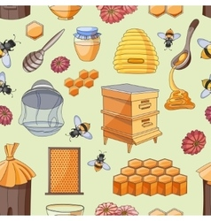 Honey pattern Design with apiary sketch elements vector