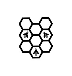 honeycomb and bee icon vector image