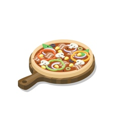 Isometric pizza with ham mushrooms paprika olive vector