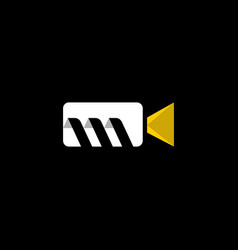 letter m camera video creative modern logo vector image