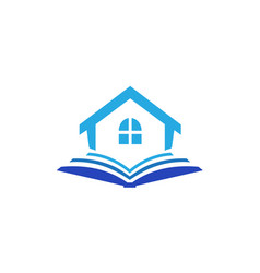 library logo book and home or school design vector image