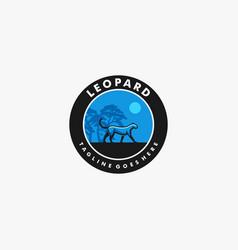 logo leopard walking vintage badge style vector image