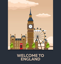 london poster england london skyline travelling vector image