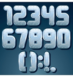 Metallic font set shiny silver numbers vector