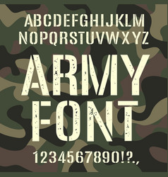 Military and army font camouflage rough pattern vector