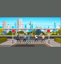 Mix race people going crosswalk modern city street vector