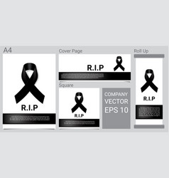 Mock up mourning symbol with black respect ribbon vector