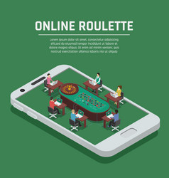 online roulette isometric smartphone poster vector image