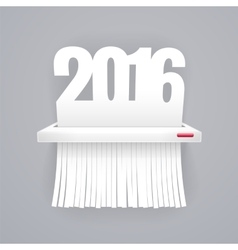 Paper 2016 is Cut into Shredder on Gray vector