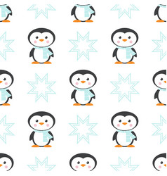 pattern with christmas penguin in scarf vector image