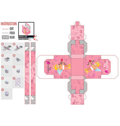 pink box template with a cupid for valentine39s vector image