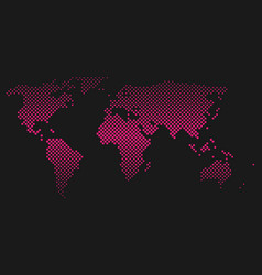 Pink halftone world map of small dots in diagonal vector