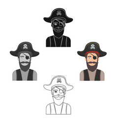 Pirate with eye patch icon in cartoonblack style vector