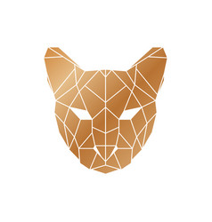 polygonal puma head wild animal icon vector image