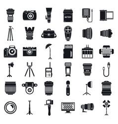professional photographer equipment icons set vector image