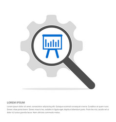 progress graph icon search glass with gear symbol vector image
