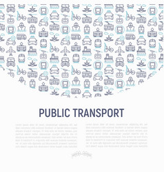 public transport concept with thin line icons vector image