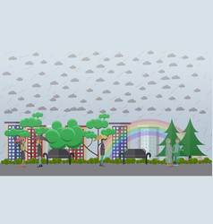 rainy weather concept in flat vector image