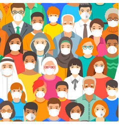 random people in medical masks covid19 protection vector image