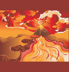 rock river and volcano vector image
