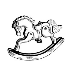 rocking horse toy engraving vector image