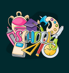 school elements clip art doodle vector image vector image