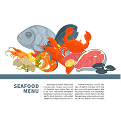 seafood menu poster design for fresh fish vector image