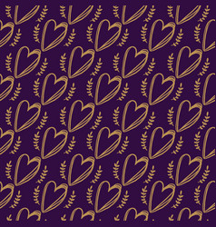 Seamless doodle hearts pattern vector