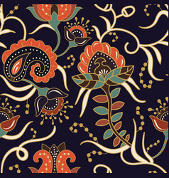 seamless pattern with stylized flowers and plants vector image