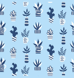 Seamless pattern with succulents in vase vector