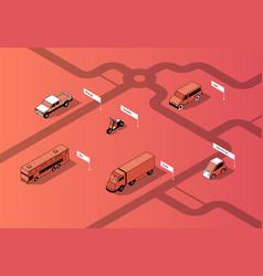 set isometric urban transportation cars vector image