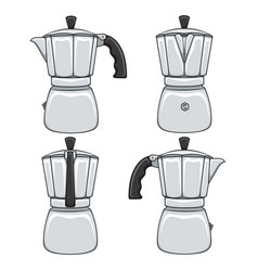 Set of color of geyser coffee makers vector