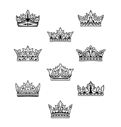 Set of king and queen crowns vector