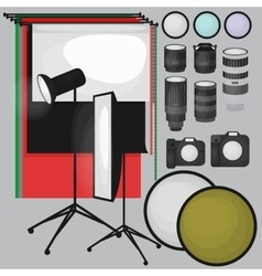 Set of photo studio equipment paper photo vector image