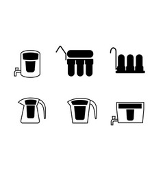 set water purifier icons in silhouette vector image