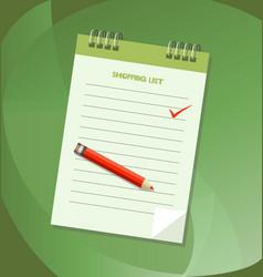 Shopping list notebook vector